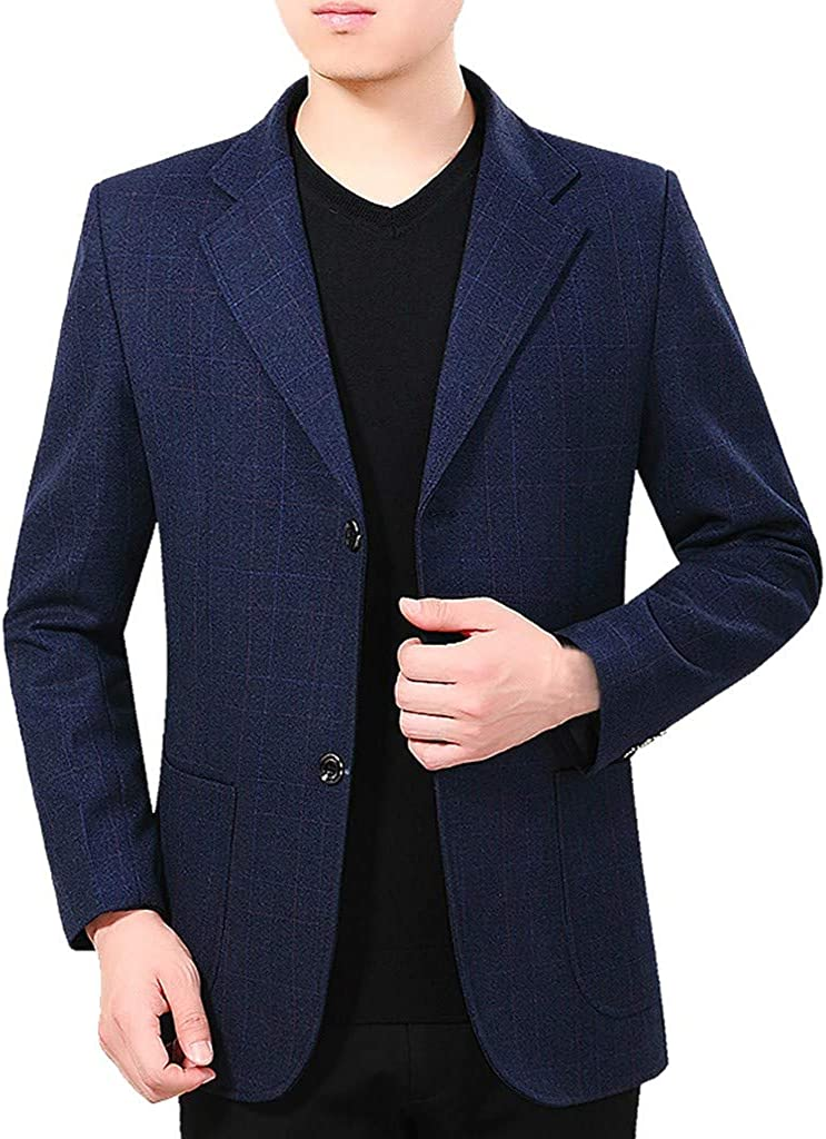 Men's Casual Solid Suit Blazer for Formal Business Wedding Party Suit Jacket