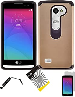 For LG Leon LTE C40 /H320 /LG Power L22C/LG Destiny L21G / ITUFFY (TM) 3items Combo: LCD Screen Protector Film + Stylus Pen + 2Tone Design (Dual Layer- Plastic Cover + Soft Rubber Silicone) Resistance Tuff Armor Case (Hybrid Gold)