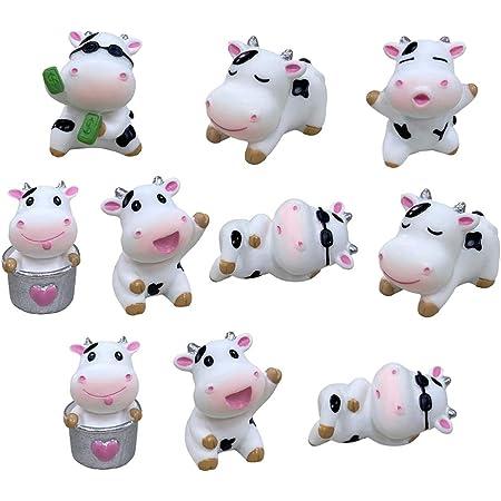 8 Miniature Cow Plastic Toy Figure Animal Terrarium Fairy Garden Supply Dairy Cow Farm Barn Decor Party Craft Supply Lot #3056