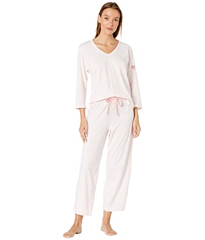 Skin Organic Cotton Blend Heart on Your Sleeve Pajama Set (Light Pink Heather) Women