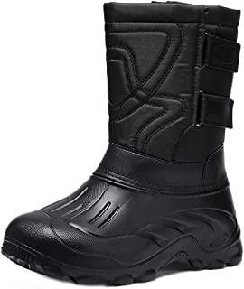 Naisidier Men Yard Boots Camouflage Waterproof Leather Ski Boots with Hook and Loop Great for Snow Rain Riding