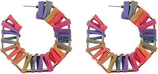 OMEYA Geometric Octagon Hoop Earrings for Women Handmade Raffia Colorful Dangle Statement Earrings for Women with Alloy