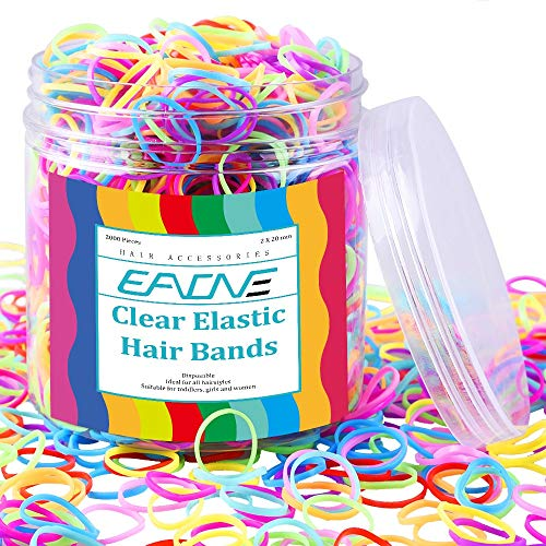 Baby Hair Ties EAONE 2000 Pieces Colorful Elastic Hair Ties Rubber Hair Bands Polyband with Box Packaged for Girls, Multiple Candy Colors Toddler Hair Ties