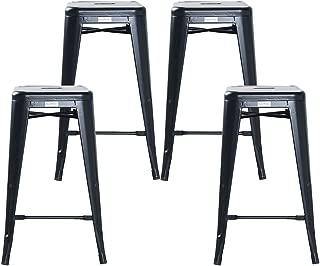 Buschman Set of 4 Matte Black 26 Inch Counter Height Metal Bar Stools, Indoor/Outdoor, Stackable