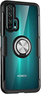 BRAND SET Case for Huawei Honor 20 Pro Transparent Case, TPU Bumper and Tempered Mirror Back Cover with 360° Rotation Magnetic Metal Ring Holder for Huawei Honor 20 Pro-Silver Black