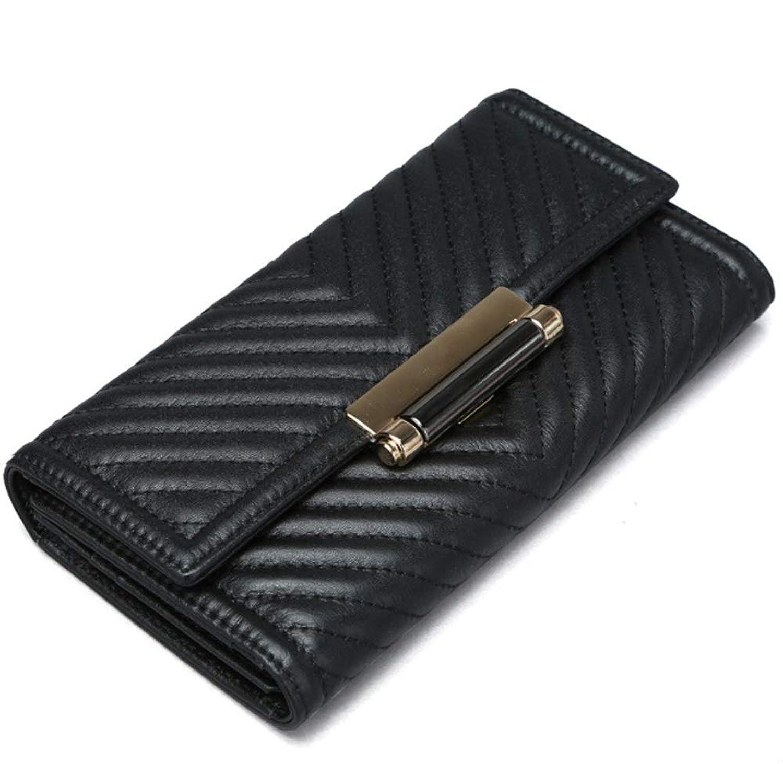 BND-Brieftaschen Damen Damen Damen Geldbörse Leder Lange Abschnitt Clutch Bag Stickerei Brieftasche,Gute Qualität (Farbe   schwarz, Größe   S) B07MJWCC5T 9f38be