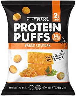 Shrewd Food Keto Protein Puffs, Low Carb, High Protein, Healthy Cheese Puff, 14g per..