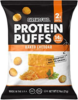 Sponsored Ad - Shrewd Food Keto Protein Puffs, Low Carb, High Protein, Healthy Cheese Puff, 14g per Pack, 2g Carbs, Gluten...