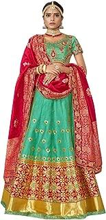 Bottle Green Indian Bollywood Designer Banarasi Jacquard Lehenga Choli Silk Dupatta Reception Party Women Bespoke 7972