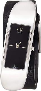 """ساعة للسيدات بسوار من الجلد من """"كالفن كلين"""" موديل ايمبودي بمينا لون اسود - K3C231C1"""