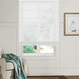 Artdix Roman Shades Blinds Window Shades - White 20 W x 36L Inches (1 Piece) Linen Sheer Solid Fabric Custom Made Roman Shades for Windows, Doors, Frech Doors, Kitchen, Living Room