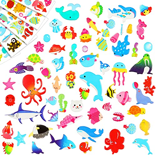 Fulmoon 288 Pieces/12 Sheets Kids Sea Animal Stickers 3D Puffy Stickers Toddlers Colored 3D Sticker Puffy Fish Stickers Decals Cartoon Sea Ocean Life Foam Sticker for Boy Girl Reward Scrapbooking