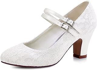 HC1708 Women Mary Jane Block Heel Pumps Closed Toe Lace Bridal Wedding Shoes