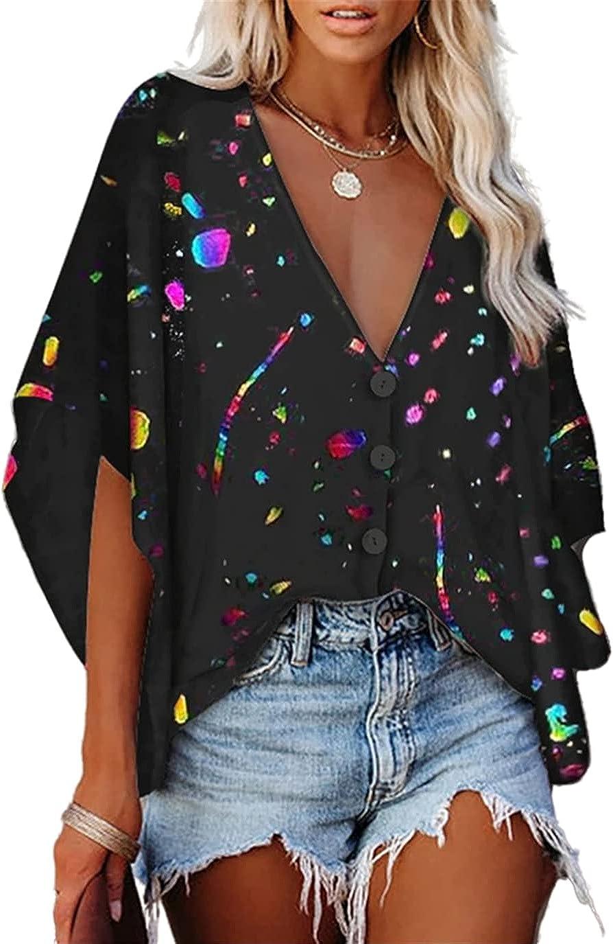 FRMUIC Women's Deep V Necktie Button Bat Sleeve T Shirt Graffiti Print Women Shirt Sexy Fashion Previous Top