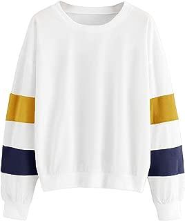 SheIn Women's Contrast Colorblock Long Sleeve Pullover Top Crewneck Sweatshirts
