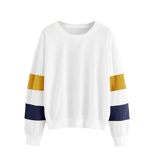 aa2a8b00dffc SheIn Women's Contrast Colorblock Long Sleeve Pullover Top Crewneck  Sweatshirts
