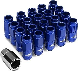 J2 Engineering LN-T7-002-15-BL Blue 7075 Aluminum M12X1.5 16Pcs L: 50mm Open End Lug Nut w/4Pcs Lock+Key