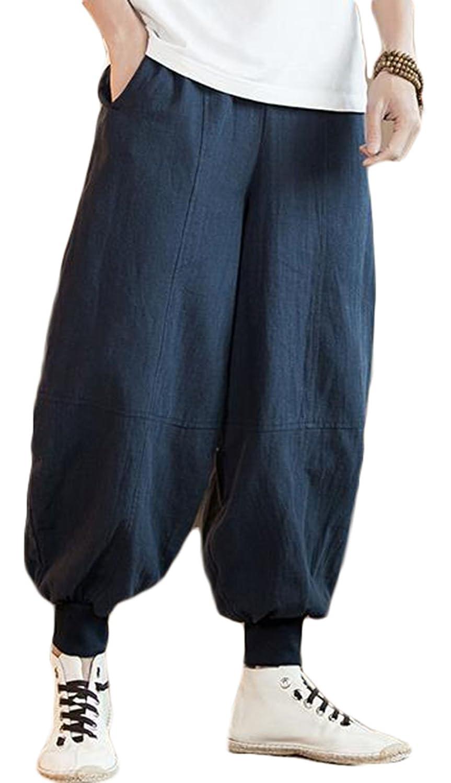 Gergeousメンズ ワイドパンツ 綿 麻 ゆったり カジュアルパンツ サルエル パンツ ゆる袴パンツ 無地 リネン テーパードパンツ 大きいサイズ 黒 ネイビー