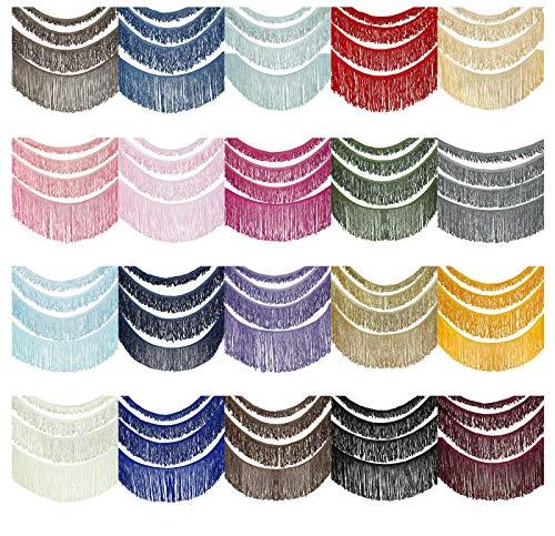 Fransenborte Kunstseide Fransenband Schleifen Fransen Borte. Polyester Reyon Antik Aussehendgewellt Kostüm Fasching Vorhang Deko Quaste Band. 2,4,6 & 13cm 20 Farben. Cream #815, 4cm, 10YD