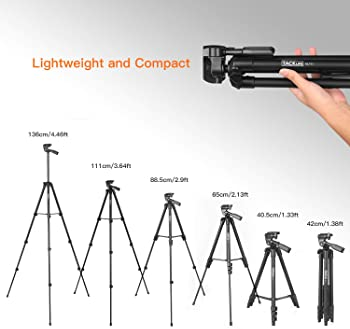 "Lightweight Tripod 55-Inch, Aluminum Travel/Camera/Phone Tripod with Carry Bag, Maximum Load Capacity 6.6 LB, 1/4"" Mo..."