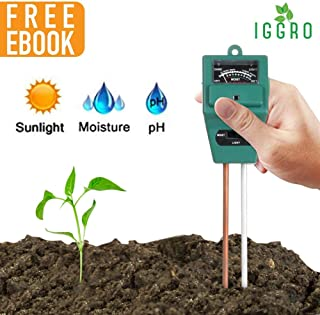 IGGRO 3 in 1 Soil Testing Kit with Soil Moisture Meter Soil pH Meter Sunlight Sensor, Soil Tester for Garden Farm Lawn Promote Indoor Outdoor Plants Healthy Growth with Secret for Lush Garden Ebook