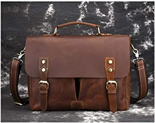 Mens Bag Leather Bag Briefcase Shoulder Messenger Bag Cowhide Briefcase British Retro Top Layer Leather Tote Bag High capacity