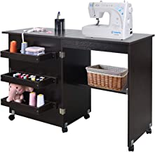 NSdirect Sewing Table, Foldable Sewing Craft Cart&Sewing Cabinet Miscellaneous Sewing Kit Art Desk with Storage Shelves an...