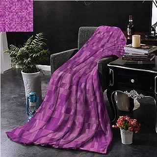 SSKJTC Magenta Orange Throw Blanket Double-Sided Printing Pixel Art Design Squares Bed Sleeping Travel Pets Reading W60 xL50