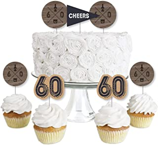 60th Milestone Birthday - Dashingly Aged to Perfection - Dessert Cupcake Toppers - Birthday Party Clear Treat Picks - Set of 24