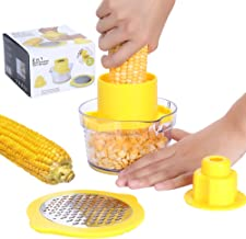 Beaverve Corn Stripper, 4 in 1 Corn Shucker Tool Corn Holder, Corn Stripping Tool Corn Cutter & Remover with Built-In Meas...