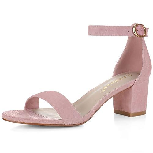 2719e5fd2a9 Pink Block Heel Sandals: Amazon.co.uk