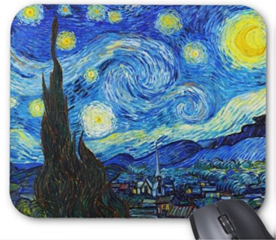 Gaming Mouse Pad Cool Starry Night Vincent Van Gogh Painting Design for Desktop and Laptop 1 Pack 25x20cm/9.8x7.9in
