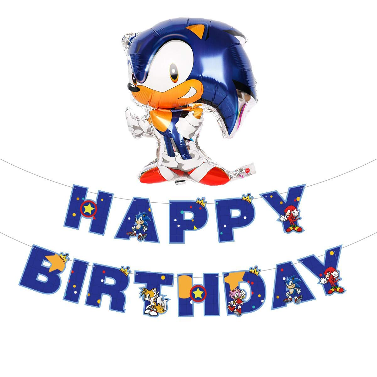 Popular Video Game Sonic the Hedgehog Happy Birthday Banner and