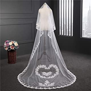 Wedding Veil,Bridal Veil Lace heart-shaped trailing handmade flower arrangement,Long Soft Veil Elegant Tulle Wedding Veil with Comb
