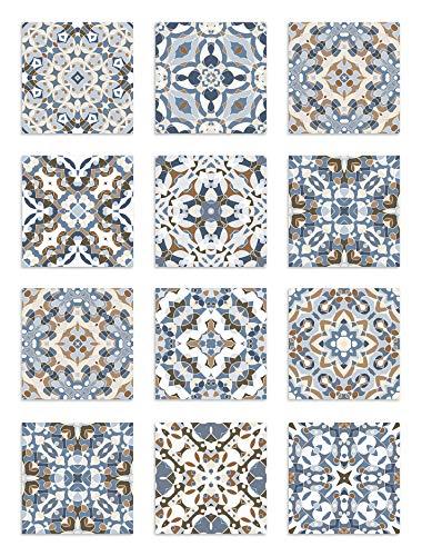 Panorama Azulejos Adhesivos Cocina Baño Pack de 8 Cenefas de Baldosas de 100x10 cm Baldosa Hidráulico Oriental Azul - Vinilos Cocina Azulejos - Revestimiento de Paredes - Cenefas Azulejos Adhesivas
