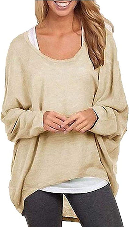 Oversized T Shirt for Women Crewneck Tshirt Loose Bat Long Sleeve Sweatshirt Plain Color Pullover Tops