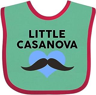 Inktastic - Little Casanova Mustache Blue Heart Baby Bib 28737