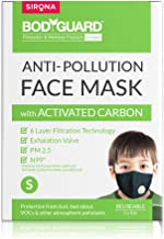 Bodyguard Reusable N99+PM2.5 6 Layer Anti Pollution Face Mask - Small  Nose Clip for Better Fit  Exhalation Valve for Easy...