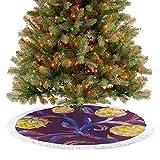 Falda de árbol de Navidad grande estilo Art Nouveau con colores vibrantes vegetales veganos 2020 Nueva falda de árbol de Navidad Decoración para vacaciones Año Nuevo Decoraciones Azul y Amarillo 92 cm