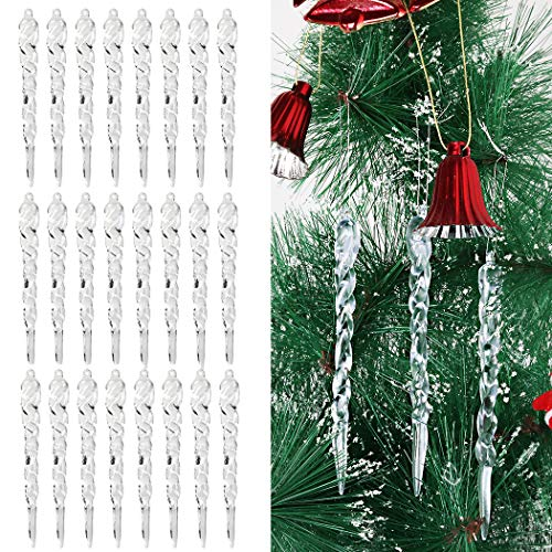 Fansport Christmas Tree Icicle Ornaments Clear Plastic Icicles Drop Ornaments for Xmas Tree Icicles Hanging for Garden Party Wedding Christmas Tree Decorations (24pcs) (Clear)