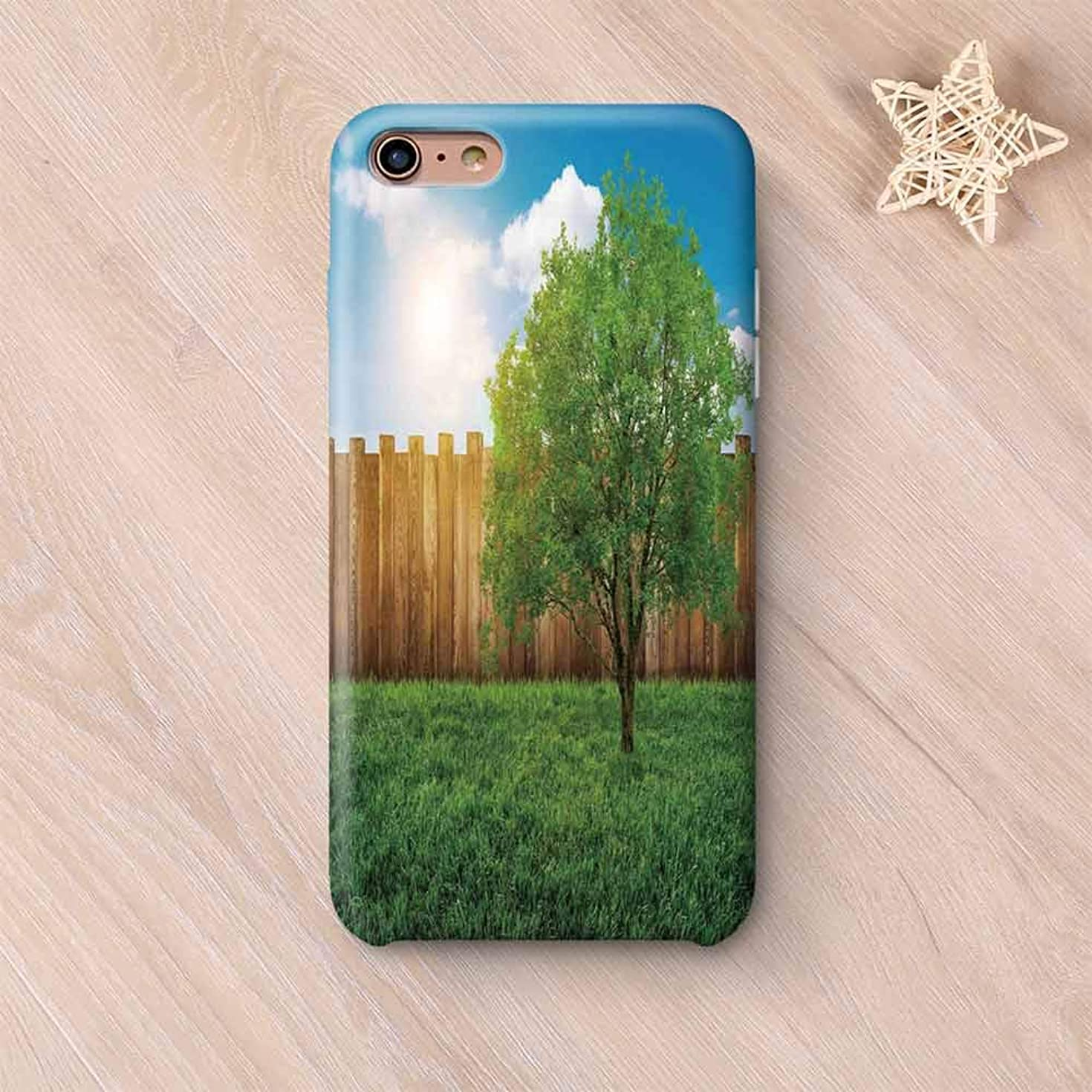 Farm House Decor Non Fading Compatible with iPhone Case,Tree of Life in Backyard of a Countryhouse with Sun Tranquil Field Design Compatible with iPhone 6 Plus / 6s Plus,iPhone 6 Plus / 6s Plus