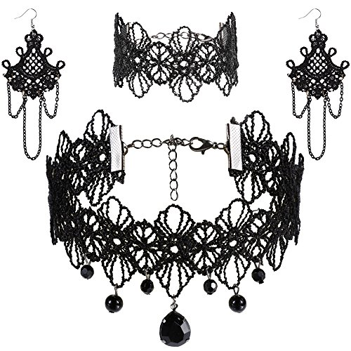 【Material】 Alloy+Lace+Rhinestone;Please remove the bracelet before swimming, bathing, doing household chores, or using abrasive cleaners 【Unique Style】 Stylish and attractive design allows you to use as beaded choker,tatoo choker,statement necklace,l...