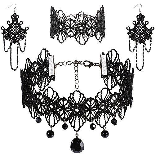 Rovtop Black Lace Choker Beads Chain Pendant Necklace Earring Bracelet Lace Gothic Necklace Bracelets Set Lolita Choker Pendant Chain for Women Girls