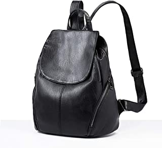 Xuan Yuan Backpack - Fashion Joker PU Soft Leather Bag Simple Retro Leisure Travel Backpack Large Capacity Multi-Function Female Bag [Black Brown Two Colors] Backpack (Color : Black)