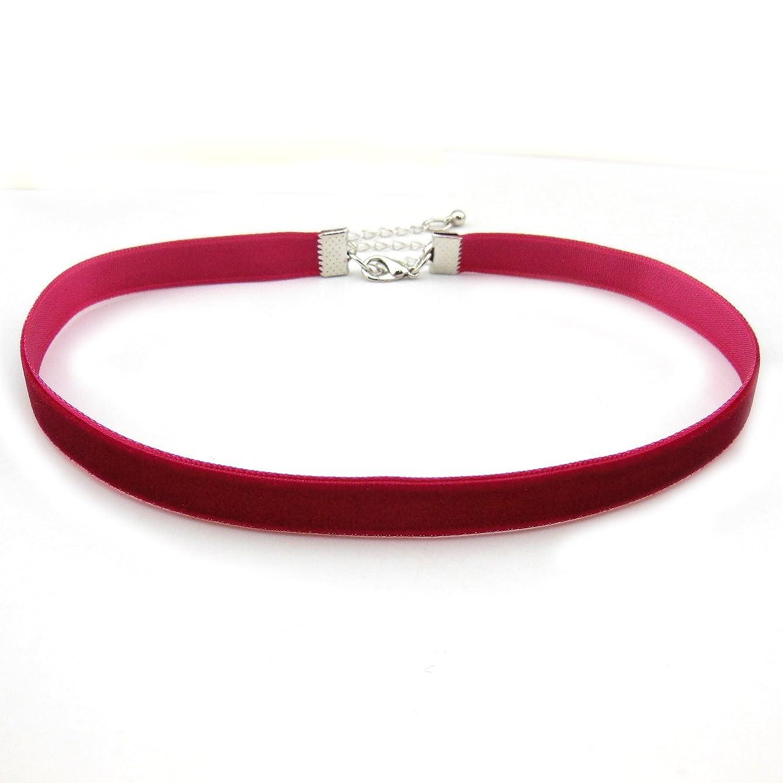 COIRIS 1.6cm 20pcs Wine Red Velvet Chokers Vintage Necklace for Women with Extension (XL-1002-8)