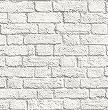 Fine Décor UW24763 - Pared lateral de ladrillo, color blanco