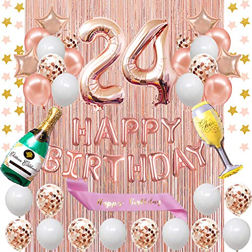 Fancypartyshop 24th Birthday Decorations - Rose Gold Happy Birthday Banner and Sash with Number 24 Balloons Latex Confetti Balloons Ideal for Girl and Women 24 Years Old Birthday Rose Gold