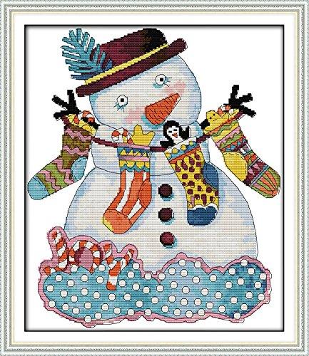 benway Kit point de croix compté Motif Noël Bonhomme de neige 14 fils 37 cm x 42 cm