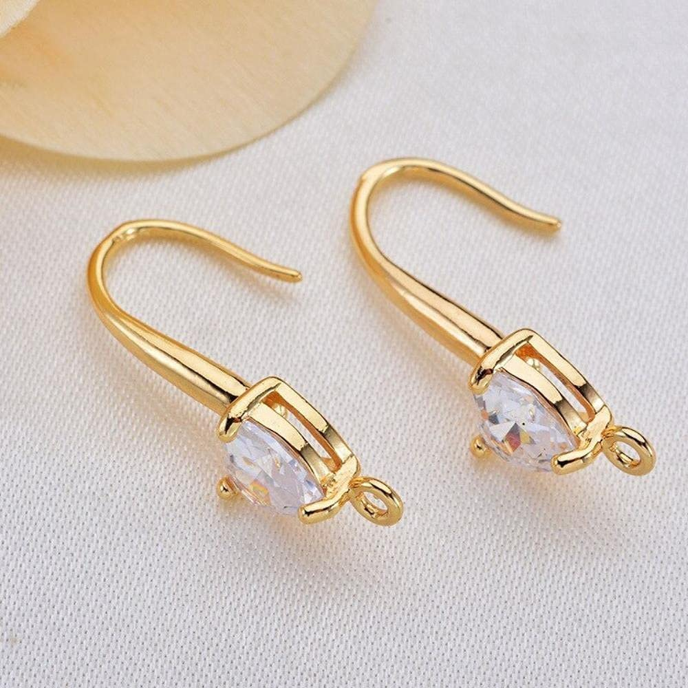 6PCS favorite 22mm Heart 6mm 24K Gold New mail order Brass Shaped Zircon Colore Ea