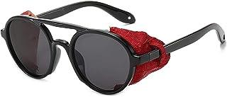 QWERFGHB - Gafas De Sol Gafas De Sol Clásicas Steampunk para Mujer Y Hombre, Gafas De Sol Redondas con Tapa Abatible Steam Punk Vintage Uv400
